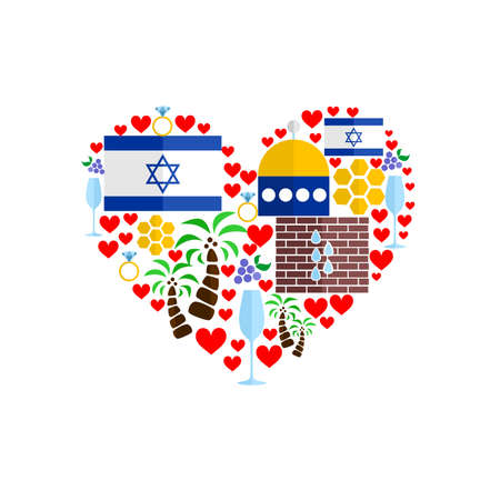 aviv: Set in the style of a flat design on the theme of israel. Illustration