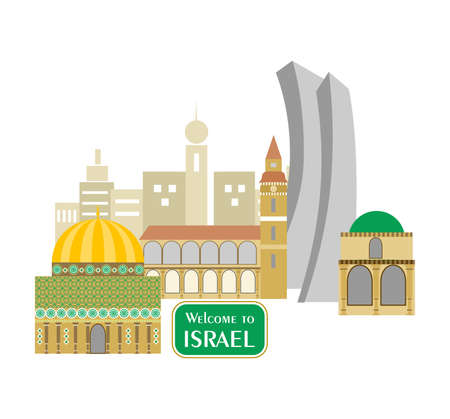 aviv: set in the style of a flat design on the theme of israel.
