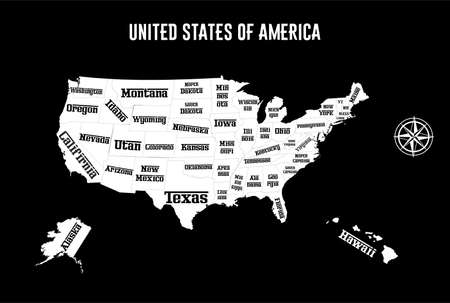 demography: the illustration - map of the USA with all States.