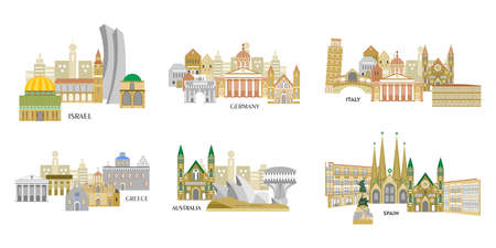 Illustration in the style of a flat design with the main sights of some European countries.