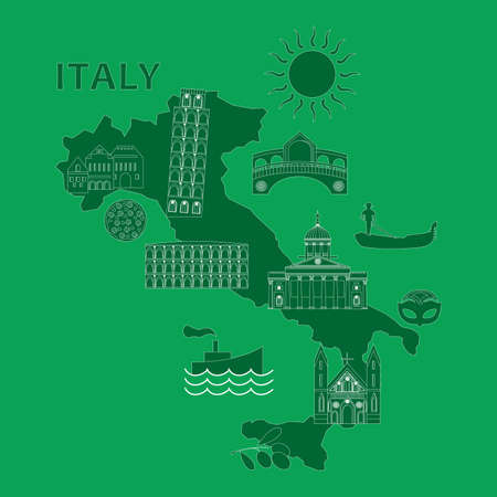 leaning tower of pisa: Illustration in the style of a flat design on the theme of italy. Illustration