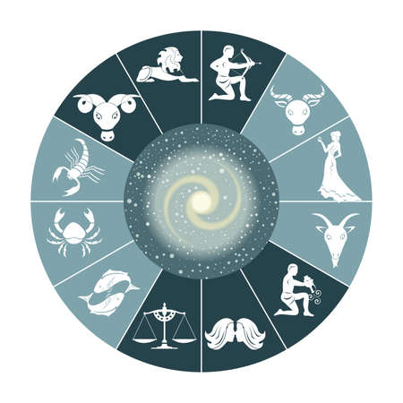 Illustration - set of icons - with signs of zodiac. Vectores