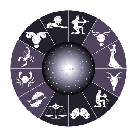 Illustration - set of icons - with signs of zodiac. Illustration