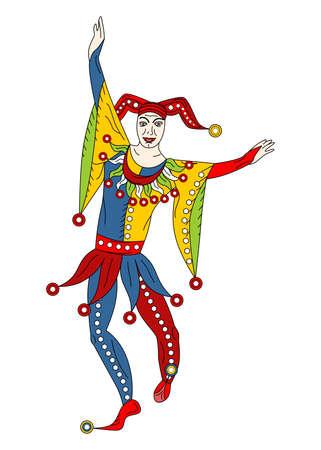 The illustration with portrait of man joker.