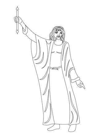 Illustration mit Porträt des Mannes - Magier Standard-Bild - 80601589