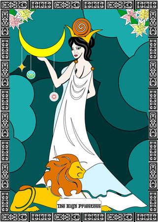 de illustratie - kaart voor tarot - de priesteres.