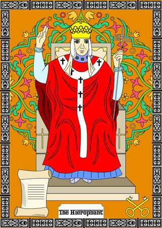 Card for tarot - the hierophant. Illustration