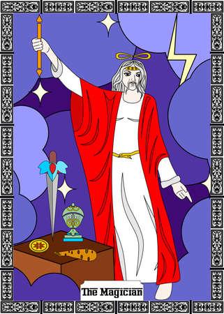 The illustration - card for tarot - the magician. Vektorové ilustrace