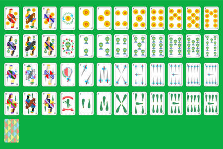 Set of beautiful designer spanish playing cards of all suits.