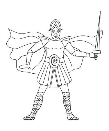 The illustration - with portrait of man - warrior.