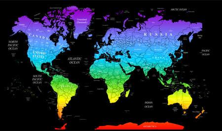 demografia: Ilustración - mapa del mundo en colores brillantes. Foto de archivo