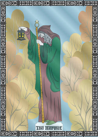 The illustration - card for tarot - the hermit.