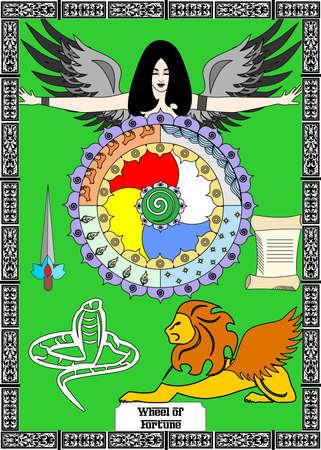 La ilustración - tarjeta para el tarot - rueda de la fortuna.