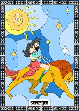 the illustration - card for tarot - the strength. Vektorové ilustrace