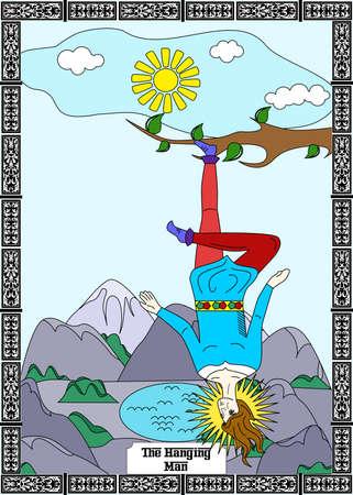 de illustratie - kaart voor tarot - de hangende man. Stock Illustratie