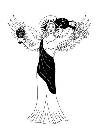 the illustration - with portrait of woman - the angel. Illustration