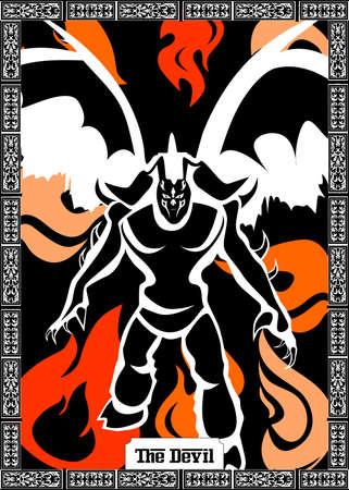 the illustration - card for tarot - the devil. Ilustracja
