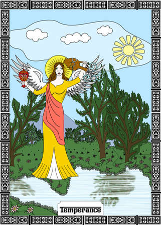 the illustration - card for tarot - the Temperance. Ilustrace