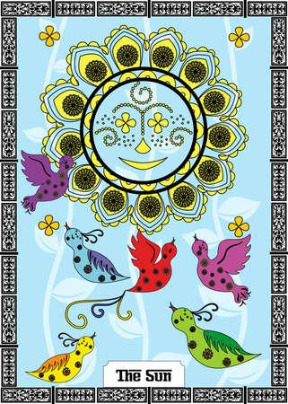 イラスト - - 太陽のタロット カード。