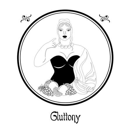 Illustration with a well-fed woman and a meal on the theme of gluttony. Illustration