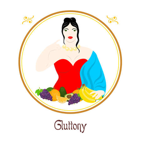 vice: Illustration with a well-fed woman and a meal on the theme of gluttony. Illustration