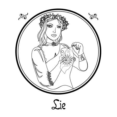 Illustration with a woman on the theme of lie. Illustration