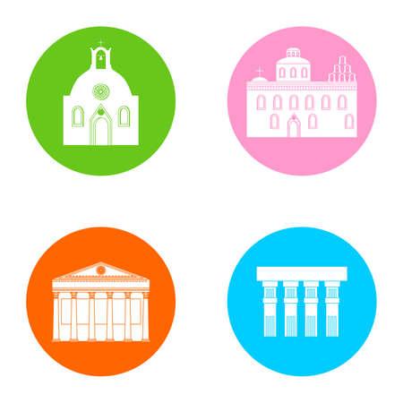 im Stil eines flachen Design zum Thema Griechenland gesetzt. Vektorgrafik