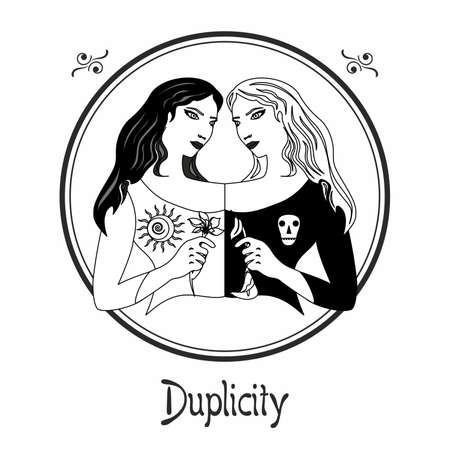 Illustration with a woman on the theme of duplicity. Illustration