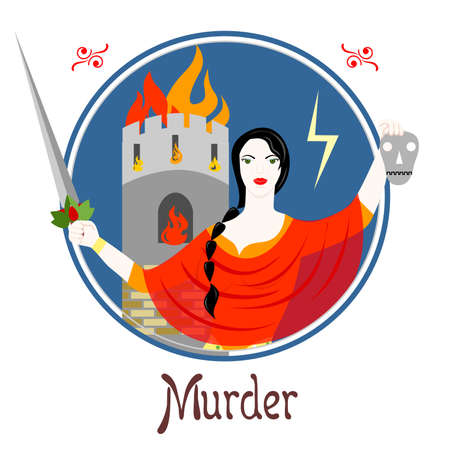 Illustration with a woman on the theme of murder. Illustration
