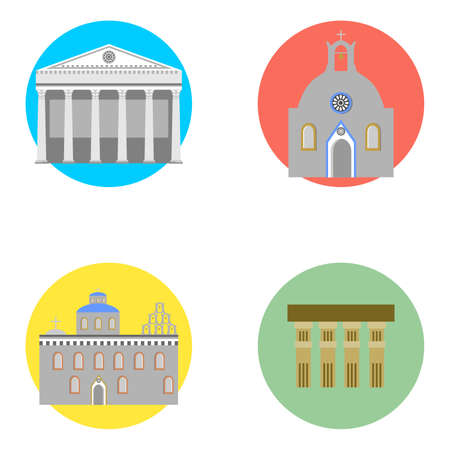 set in the style of a flat design on the theme of greece.
