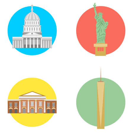 set in the style of a flat design on the theme of USA. Illustration