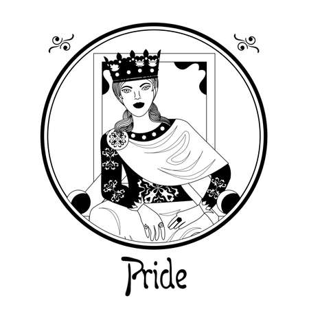 sins: Illustration with a woman on the theme of pride. Illustration