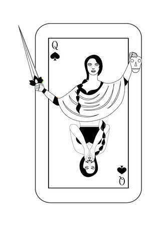 Illustration - card of the queen - with a beautiful woman.