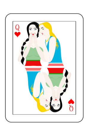Illustration - card of the queen - with a beautiful womans. Illustration