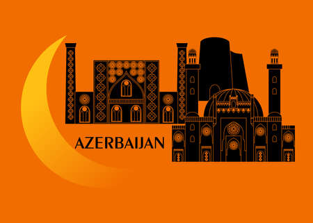 set in the style of a flat design on the theme of azerbaijan.