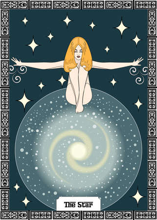 the illustration - card for tarot - the star.