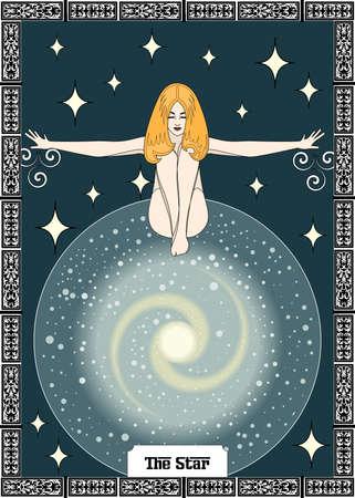 the illustration - card for tarot - the star. Vektorové ilustrace