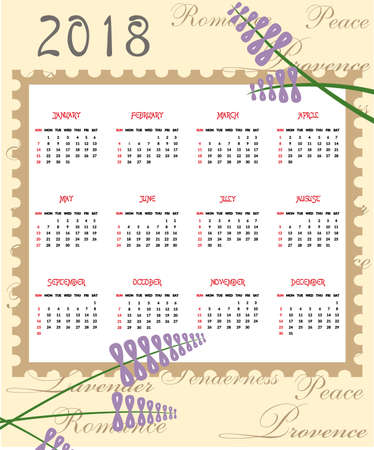 L'illustration avec un beau calendrier pour 2018 année. Banque d'images - 84820523
