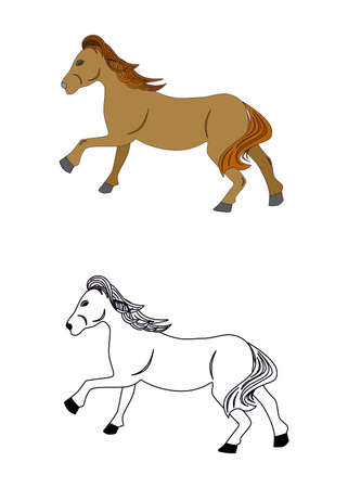 the illustration - set of silhouettes of beautiful horses. Illustration