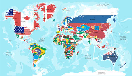 Illustration - map of the world with flags.