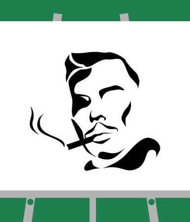 cigar smoking man: the illustration - the portrait of man in black.