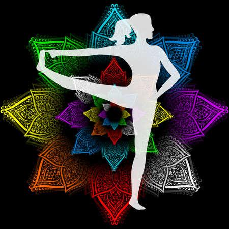 hasta: Illustration with a beautiful girl on a yoga theme - eka hasta padangusthasana pose.