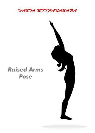 hasta: illustration with a beautiful girl on a yoga theme - hasta utthanasana pose.