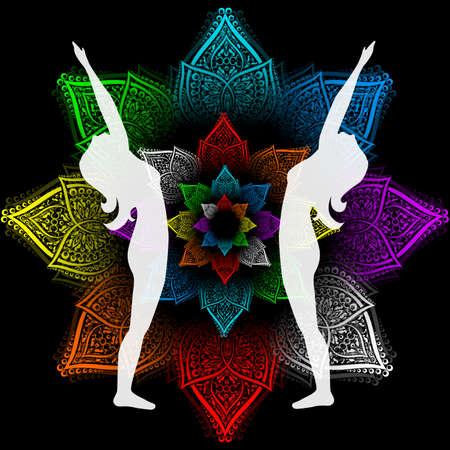 illustration with a beautiful girl on a yoga theme - hasta utthanasana pose.