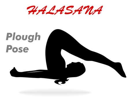 illustration with a beautiful girl on a yoga theme - halasana Pose.