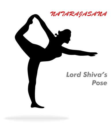 illustration with a beautiful girl on a yoga theme - natarajasana.