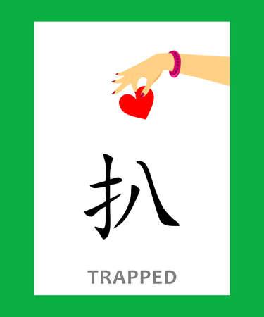 그림 - 갇혀 의미하는 중국어 문자로 개념.