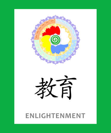 illustration - concept with Chinese character which means enlightenment.
