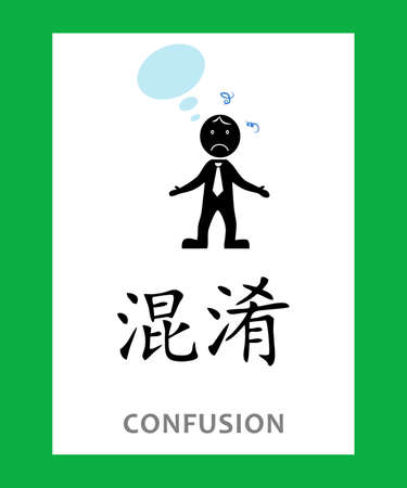 Concept with Chinese character which means CONFUSION