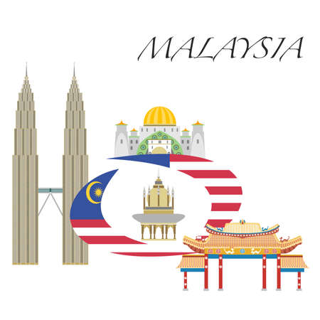 Set in the style of a flat design on the theme of Malaysia. Illustration